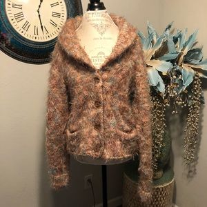 Hand knit by Dollie cardigan wool blend sweater